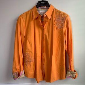 Robert Graham embroidered orange button shirt XL